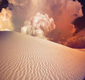Desert dune warm tinted with dramatic cloud Royalty Free Stock Image