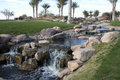 Desert Golf Course Waterfall Stock Photo