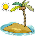 Desert island cartoon illustration Royalty Free Stock Photo
