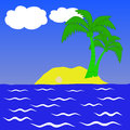 Desert island clip art illustration Royalty Free Stock Images