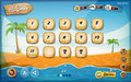 Desert island game user interface design for tablet illustration of a funny summer tropical beach graphic background in cartoon Stock Photo