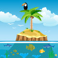 Desert island and undersea world Stock Photography