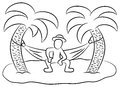Desert island vector illustration of a man in a hammock on a small lonely Royalty Free Stock Photography