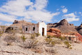 Desert landscape with historic adobe buildings Royalty Free Stock Photo