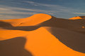 Desert landscape in morroco dunes near merzouga Royalty Free Stock Photo