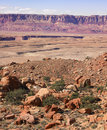 Desert Landscape with Plateau in Background Stock Photo