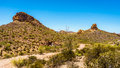 Desert Landscape and rugged Mountains in Tonto National Forest in Arizona, USA Royalty Free Stock Photo
