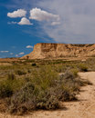 Desert landscape under the cloudy sky bardenas reales navarra spain Stock Image