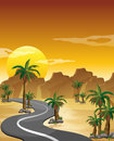 A desert with a long and winding road illustration of Stock Photo