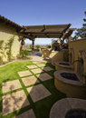 Desert mansion home back yard Royalty Free Stock Photo