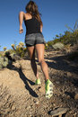 Desert Mountain Trail Female Runner Royalty Free Stock Photo