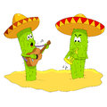 Desert plant illustration of funny cactus play a song Stock Photos