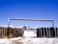 Desert ranch in winter snow laden fences after rare storm mojave usa Royalty Free Stock Image