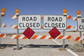 Desert Road Closure Stock Photo