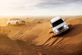 Desert safari in the with suv Royalty Free Stock Photos
