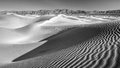 Desert sand dunes in black and white no the of death valley national park california Stock Photo
