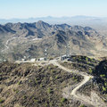 Desert satellite towers. Royalty Free Stock Images