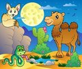 Desert scene with various animals 3 Stock Photography