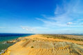 Desert and sea dry coastal landscape next to caribbean in la guajira colombia Royalty Free Stock Photos
