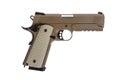 Desert tactical pistol on white background military model Stock Image