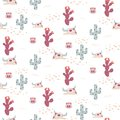 Desert Texas seamless vector pattern with cacti and cow skulls. Royalty Free Stock Photo