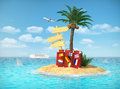 Desert tropical island with palm tree, chaise lounge, suitcase Royalty Free Stock Photo