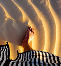 Desert walk by foot Royalty Free Stock Photo