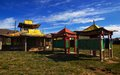 A deserted Buddhist temple in northern Mongolia. Stock Image
