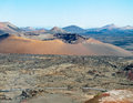 Deserted landscapes national park timanfaya lanzarote canary islands Stock Images