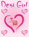 Desi girl an illustration of greeting card design with love hearts an indian elephant and the words on a pink background Royalty Free Stock Photo