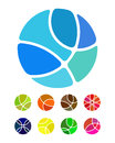Design abstract round logo element crushing round pattern colorful ball icons set Stock Images