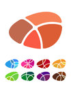 Design abstract round logo element crushing round pattern colorful icons set Stock Image