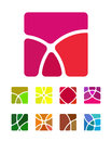 Design abstract square logo element crushing round rectangle pattern colorful square icons set Stock Image