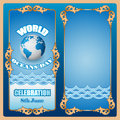 Design background for World Oceans day, celebration