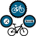 Design for bikers vector illustration with sign bicycle service Royalty Free Stock Photography