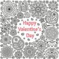 Design of card for Valentines day. Pattern with flowers, hearts, bear, gift and key. Royalty Free Stock Photo