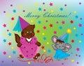 Design of a Christmas greeting card. Stock Photos