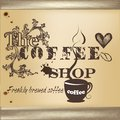 Design of coffee shop poster cute vector or cafe in vintage style Stock Photos