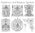 Design collection with graphic illustration of mystic and religious organizations Royalty Free Stock Photo