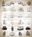 Design collection with vintage ships, sailboats and vessels