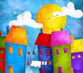 Design with colorful houses abstract Royalty Free Stock Photo