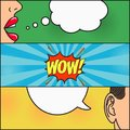 Design of comic book page. Dialog of girl and guy with speech bubble with emotions - WOW. Woman lips and mans ear. Vector. Royalty Free Stock Photo
