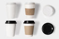 Design concept of mockup coffee cup set and lid set on white bac background copy space for text logo Royalty Free Stock Photography