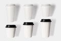Design concept of mockup coffee cup set  on white backgr Royalty Free Stock Photo