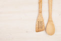 Design concept of mockup of empty wood beige spoons on white wood background.