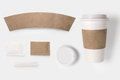 Design concept of mockup paper sugar coffee creamer toothpick lid and cup set on white background Royalty Free Stock Photography