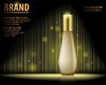 Design cosmetics product advertising on dark background with blur, sparkling effect.