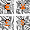 Design currency icons set. Euro, yen, pound, dolla Royalty Free Stock Images