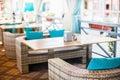Design de interiores do restaurante exterior vazio Imagem de Stock