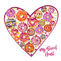 Design from donuts in the heart form. Culinary pastries background for St. Valentine s Day with lettering. Cartoon style Royalty Free Stock Photo